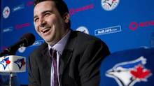 Toronto Blue Jays General Manager Alex Anthopoulos laughs as he speaks to he media during a press conference in Toronto on Tuesday, Nov. 20, 2012. (Nathan Denette/THE CANADIAN PRESS)