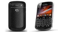 This is the BlackBerry Bold 9900 smart phone. This image has been altered to display the front and back of the phone. (Handout)