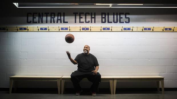 Jeffers, a widely respected youth basketball coach, muses with a ball in Central Tech's locker room in November, 2016.