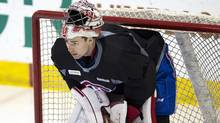 Montreal Canadiens goaltender Carey Price (31) gets ready to start the team's practice in Brossard, Que., on Monday, April 14, 2014. (The Canadian Press)