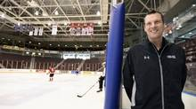 Joe Birch of Mississauga oversees the Ontario Hockey League's development combine at the GM Centre in Oshawa in late March. (Fred Lum/The Globe and Mail)