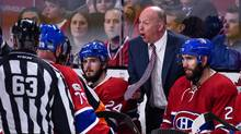 Montreal Canadiens head coach Claude Julien reacts to a call during Game 1 against the New York Rangers at the Bell Centre in Montreal, on April 12, 2017. (Minas Panagiotakis/Getty Images)