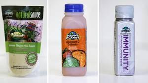 (L-R) Japanese Ginger Miso Sauce, Abundant C smoothie and energy shot Immunity Cold & Flu remedy