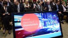 BMO's CEO highlighted the issue of disruption from technology companies offering mobile payments in his speech before shareholders on Tuesday, during the bank's annual general meeting. (Frank Gunn/THE CANADIAN PRESS)