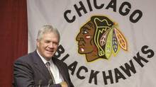 Former Chicago Blackhawks general manager Dale Tallon speaks at a news conference in Chicago. (Brian Kersey)