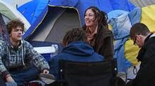 Occupy Vancouver protester gather near their tents during their protest at the Vancouver Art Gallery in Vancouver October 16, 2011 in Vancouver. (Jeff Vinnick for The Globe and Mail/Jeff Vinnick for The Globe and Mail)