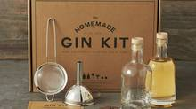 All the aromatics you'll need for a fine distillation are included in this Williams Sonoma DIY gin kit, as are two pretty corked bottles and stainless steel equipment