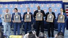 From left, Bobby Cox, Tony La Russa, Tom Glavine, Frank Thomas, Greg Maddux and Joe Torre Sunday in Cooperstown, N.Y. (Mike Groll/AP)