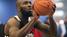 Toronto Raptors Quincy Acy works on a shooting drill during training camp in Halifax, N.S., on Friday, Oct. 5, 2012. (Andrew Vaughan/THE CANADIAN PRESS)