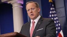 White House Press Secretary Sean Spicer answers reporters' questions during the daily press briefing at the White House in Washington, D.C., on April 17, 2017. (Chip Somodevilla/Getty Images)