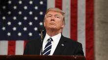 U.S. President Donald Trump delivers his first address to a joint session of Congress in Washington on Feb. 28, 2017. (Jim Lo Scalzo/Reuters)