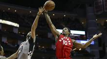 Nov 23, 2016; Houston, TX, USA; Toronto Raptors guard DeMar DeRozan (10) grabs a rebound from Houston Rockets forward Ryan Anderson (3) during the second quarter at Toyota Center. (Troy Taormina/USA Today Sports)