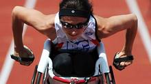 Michelle Stilwell competes in the 100 meter dash at the Canadian Track and Field Championships in Calgary, Alta., Wednesday, June 27, 2012. (Sean Kilpatrick/THE CANADIAN PRESS)