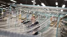 A carpet tile manufacturer in Belleville, Ont. (Moe Doiron/The Globe and Mail)