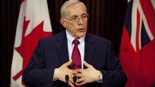Liberal Energy Minister Bob Chiarelli takes questions from the media following Ontario auditor general Jim McCarter's press conference at Queen's Park in Toronto about the cancellation of the Mississauga power plant, on Monday, April 15, 2013. (Matthew Sherwood/The Canadian Press)