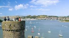 Enjoy a panoramic view of River Conwy in Wales from the narrow medieval towers of Conway Castle. (Visit Wales Image Centre (Welsh/Visit Wales)