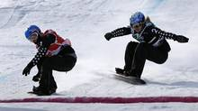 Canada's Dominique Maltais (R) during the women's Snowboard-Cross finals at the FIS Snowboard World Championships in Stoneham, Quebec, January 26, 2013. Maltais won silver in a World Cup race in Blue Mountain, Ont. on Saturday. (MATHIEU BELANGER/REUTERS)
