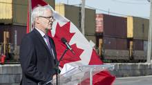 Transport Minister Marc Garneau makes an announcement concerning rail safety on Oct. 12, 2016, in Montreal. (Paul Chiasson/THE CANADIAN PRESS)
