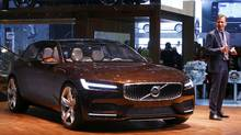Hakan Samuelsson, President & CEO of Volvo Car Group, addresses the media next to the Volvo Concept Estate car at the 84th Geneva Motor Show earlier this month. (ARND WIEGMANN/REUTERS)