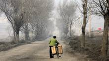 A peddler pushes his bicycle on a country-side road in Taiyuan, China. The 2,300 yuan that the government deems the minimum needed to cover a year's living costs in the countryside, would barely pay for one night in some hotels in Beijing and Shanghai. (EUGENE HOSHIKO/EUGENE HOSHIKO/ASSOCIATED PRESS)