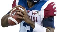 Montreal Alouettes quarterback Troy Smith throws a pass against the Toronto Argonauts during first half CFL football action in Toronto, on Friday, Nov. 1, 2013. (NATHAN DENETTE/THE CANADIAN PRESS)