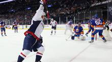 Alex Ovechkin celebrates his goal against the New York Islanders at the Barclays Center on January 7, 2016 in Brooklyn. (Bruce Bennett/Getty Images)
