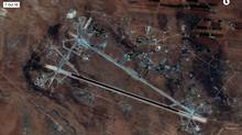 Shayrat Airfield in Homs, Syria is seen in this DigitalGlobe satellite image released by the U.S. Defense Department on April 6, 2017 after announcing U.S. forces conducted a cruise missile strike against the Syrian Air Force airfield. (Courtesy U.S. Department of Defense/Handout via REUTERS/DigitalGlobe)