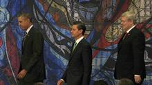 U.S. President Barack Obama, left, Mexico's President Enrique Pena Nieto and Canada's Prime Minister Stephen Harper (HENRY ROMERO/REUTERS)