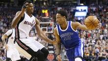 Toronto Raptors guard DeMar DeRozan dribbles the ball past Miami Heat center Hassan Whiteside at the Air Canada Centre in Toronto, on April 7, 2017. (John E. Sokolowski/USA Today Sports)