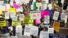 B.C. teachers rally at the Vancouver Art Gallery in Vancouver, March 7, 2012. (John Lehmann/The Globe and Mail/John Lehmann/The Globe and Mail)
