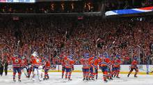 Apr 14, 2017; Edmonton, Alberta, CAN;The Edmonton Oilers celebrate 2-0 win over the San Jose Sharks in game two of the first round of the 2017 Stanley Cup Playoffs at Rogers Place. (Perry Nelson/USA Today Sports)
