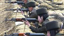 North Korean soldiers attend military training in this picture released by the North's official KCNA news agency in Pyongyang on March 7, 2013. (KCNA/REUTERS)