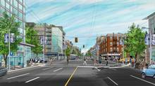 An artist's rendering of a revitalized Downtown Eastside in Vancouver. (McILHARGEY / BROWN ASSOCIATES LTD./Lori Brown)