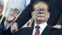 Former Chinese President Jiang Zemin waves during the opening ceremonies for the Beijing 2008 Olympics, on Aug. 8, 2008. (Kevin Frayer/AP)