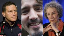 Randy Cunneyworth, Justin Trudeau, Margaret Atwood (Globe and Mail, Canadian Press)