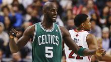 Boston Celtics' Kevin Garnett celebrates against the Toronto Raptors during the first half of their NBA basketball game in Toronto, February 6, 2013. (Reuters)