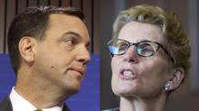 Ontario Progressive Conservative Leader Tim Hudak and Ontario Premier Kathleen Wynne. (MOE DOIRON AND KEVIN VAN PAASSEN/THE GLOBE AND MAIL)