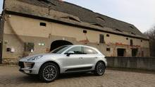 Although it's based on the same platform as the Audi Q5, the Macan shares few components. The front end of this new Porsche SUV features signature large air intakes. (Peter Cheney/The Globe and Mail)