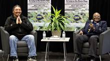 Chief Allan Adam of the Athabasca Chipewyan First Nation, left, and Archbishop Desmond Tutu speak during a press conference in Fort McMurray, Alta. (JASON FRANSON/THE CANADIAN PRESS)