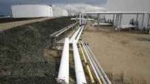 Oil pipeline and tank storage facilities in Hardisty, Alta. (Larry MacDougal/THE CANADIAN PRESS)