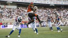 B.C. Lions wide receiver Emmanuel Arceneaux catches a pass in the end zone for a touchdown against the Montreal Alouettes during second quarter CFL football action Thursday, August 4, 2016 in Montreal. (Paul Chiasson/THE CANADIAN PRESS)