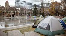 Occupy Calgary moved into the city-owned public space on the first day of the Global Occupy announcement. (Chris Bolin/The Globe and Mail/Chris Bolin/The Globe and Mail)