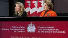 Former Privacy Commissioner Jennifer Stoddart, right, with interim Privacy Commissioner Chantal Bernier during a press conference at the National Press Theatre in Ottawa, Ont., on Tuesday November 17, 2009. (Sean Kilpatrick/The Canadian Press)