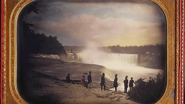This detail of a delicately hand-tinted daguerreotype of the U.S. side of Niagara Falls was made by Platt D. Babbitt, who included tourists in his images without their knowledge. He would offer his wares for sale before the visitors left. (Isenburg Collection/Archive of Modern Conflict)