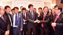 Prime Minister Justin Trudeau, at a fundraiser held on Nov. 7 at the West Vancouver mansion of B.C. developer Miaofei Pan. (Foreign and Overseas Chinese Affairs Office of the Wenzhou People's Government)
