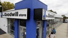 Shoppers go into a Goodwill store on Oct. 14, 2010 in Paramus, N.J. (MEL EVANS/THE ASSOCIATED PRESS)