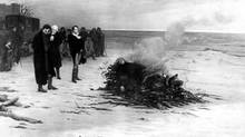 The funeral of Shelley: The poet's body burning on a pyre. Painting by L.E. Fournier.