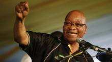 South Africa's President Jacob Zuma celebrates his re-election as Party President at the National Conference of the ruling African National Congress (ANC) in Bloemfontein Dec. 18, 2012. (MIKE HUTCHINGS/REUTERS)