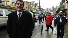 Former mayor of Winnipeg, Glen Murray, talks a stroll through Kensington Market in Toronto in 2004. (Tibor Kolley)