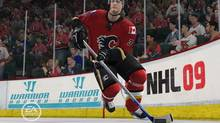 Dion Phaneuf skates with the puck in this screengrab from NHL 2009